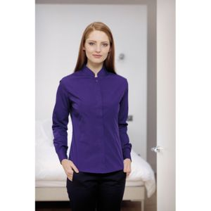 Women's mandarin collar fitted shirt long sleeve Thumbnail