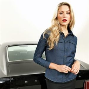 Women's jeans stitch denim shirt Thumbnail